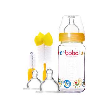 新生儿玻璃奶瓶240ml+奶嘴+奶瓶刷