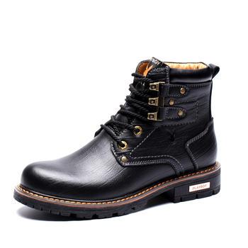 花花公子冬季高帮工装鞋男士皮鞋
