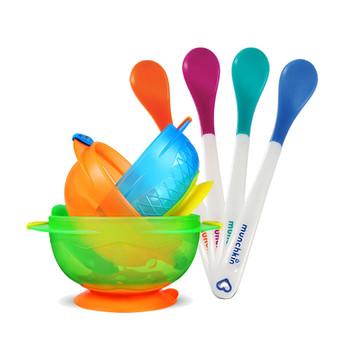munchkin 满趣健吸盘碗+感温勺套装