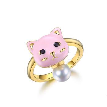 E·weil 925银粉色滴胶可爱宠物戒指