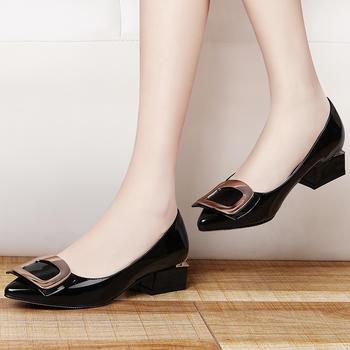 百搭女时尚粗跟鞋浅口一脚蹬女鞋