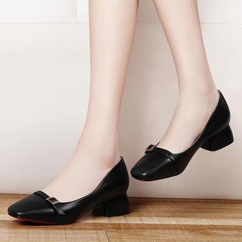 浅口单鞋女方头韩版鞋休闲女皮鞋