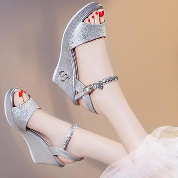 松糕坡跟厚底平底高跟韩版凉鞋