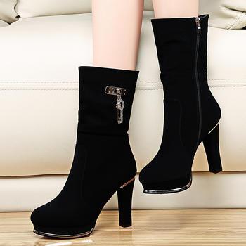 马丁靴英伦粗跟高跟短靴防水台靴