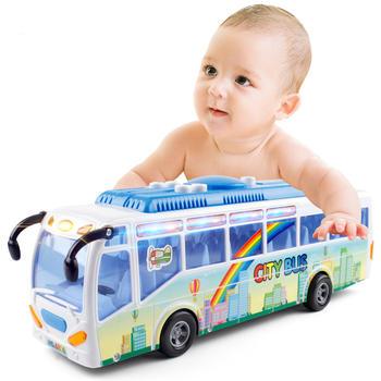 奥贝比超大号惯性音乐灯光公交车