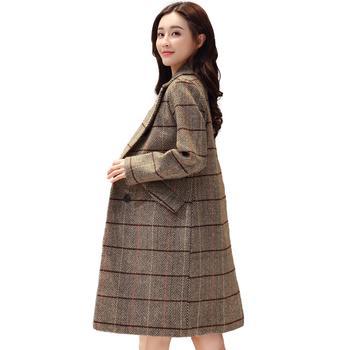 落雁莎长袖中长款格子毛呢外套