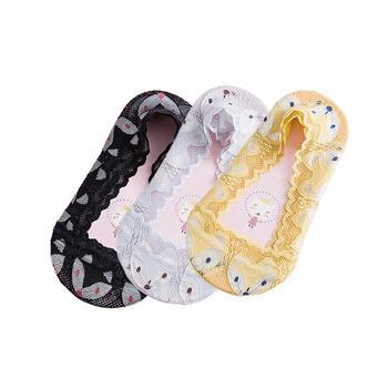叮当小猪蕾丝童袜夏隐形袜3双装