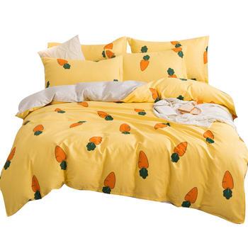 荻嘉茂 全棉斜纹被套床单四件套 胡萝卜-黄 多花型