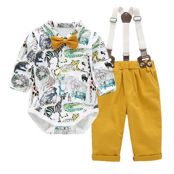 ROUTY罗町春季男童可开裆背带套装