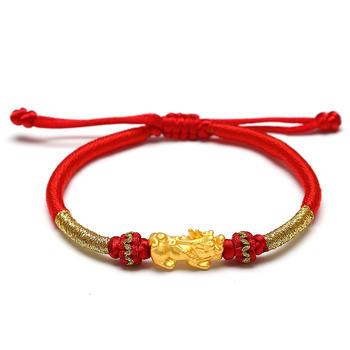 阿梵尼 黄金貔貅足金红绳手链