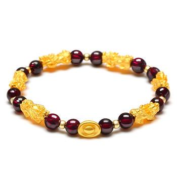 阿梵尼 黄金貔貅石榴石手链