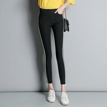 可奈丽莎新款侧面条纹小脚打底裤