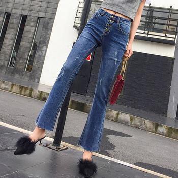 高腰排扣韩版女装显瘦弹CW1862