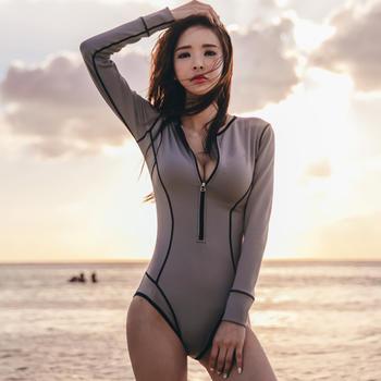 颖贝尔@长袖前开拉链连体泳衣