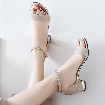ZHR-亮片水钻一字带?#25351;?#20013;跟凉鞋