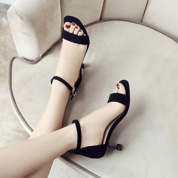 ZHR绒布一字带后包细跟高跟凉鞋夏季新款时尚潮INS女鞋