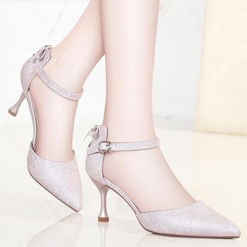 浅口单鞋女尖头细跟高跟鞋凉鞋女
