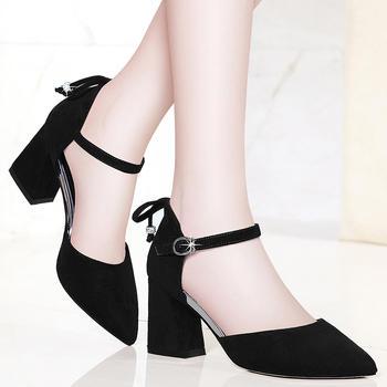 裸色高跟鞋粗跟绒面尖头中跟凉鞋