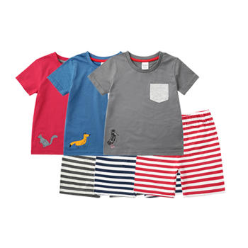 minizone夏季儿童卡通动物套装2件套