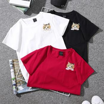 劳保拉刺绣小猫咪口袋短袖t恤