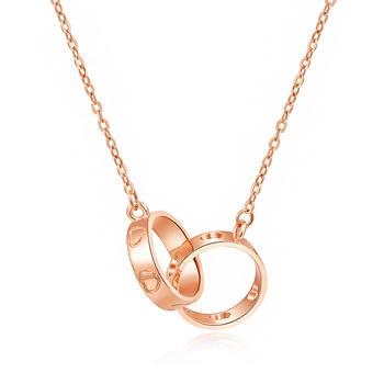 阿梵尼 18K金双环项链女玫瑰金色
