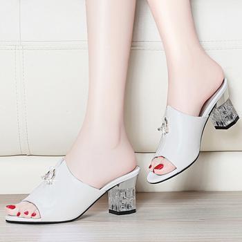 凉鞋女中跟新款夏季露趾浅口粗鞋
