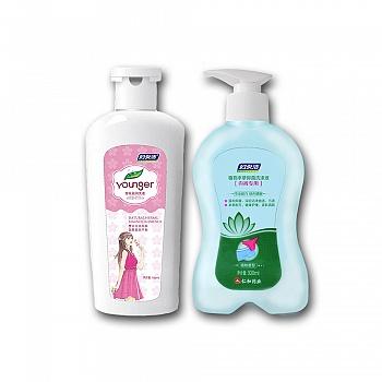 妇炎洁洗洗套装(樱花盈润洗液150ml+植物本草抑菌洗涤液300ml)