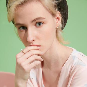 CROCUS 時尚大理石紋點綴眼睛造型女士開口戒指 3563