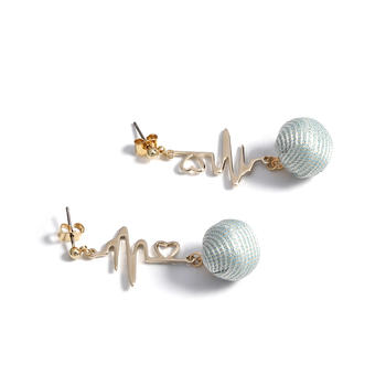 Crocus跳动的心简约不对称心电图设计耳钉52464