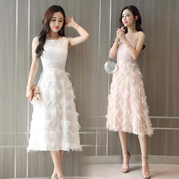 YDMS夏季收腰蕾丝连衣裙长裙