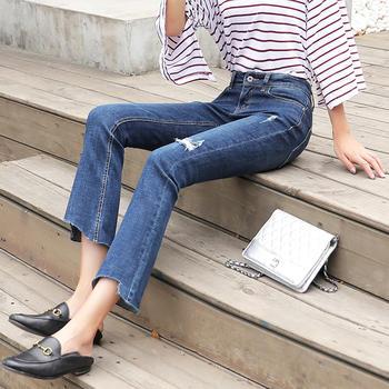 破洞牛仔裤女W8902女显瘦紧身微喇