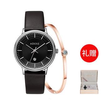 ADEXE 英国时尚石英女士手表时尚牛皮表带 黑色