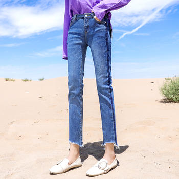 新款宽松韩版复古chic直筒裤毛边高腰牛仔裤