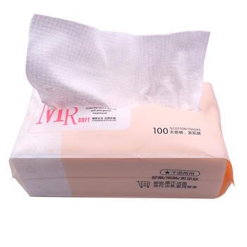 牙小白 纯棉一次性加厚天然洗脸棉柔巾抽取式两包