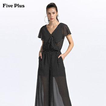 FivePlus2018新款女秋装波点雪纺连体裤女阔腿长裤V领薄高腰短袖