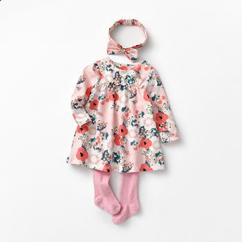 秋款套装宝宝印花连衣裙三件套