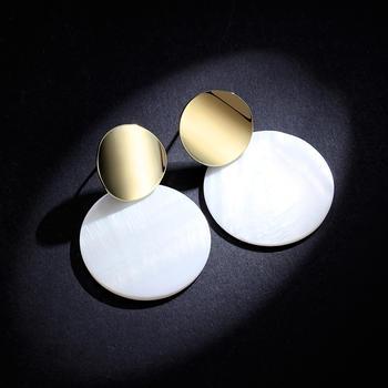 卡洛美饰品 925银针贝壳圆形耳环