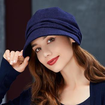 卡蒙女冬贝雷帽毛绒保暖毛呢帽子