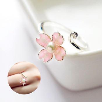 粉粉甜美樱花开口戒指