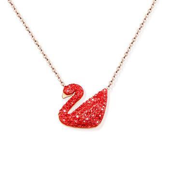 优雅时尚火红天鹅项链点缀锁骨美
