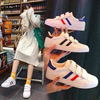 ADK新款韩版魔术贴港风小白鞋