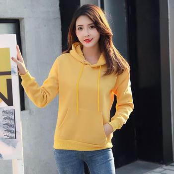 慵懒风净色FX黄色卫衣女新款韩版