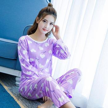 麦晴简约紫色桃心长袖家居服套装