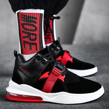 跨洋 时尚休闲高帮运动男鞋 黑红