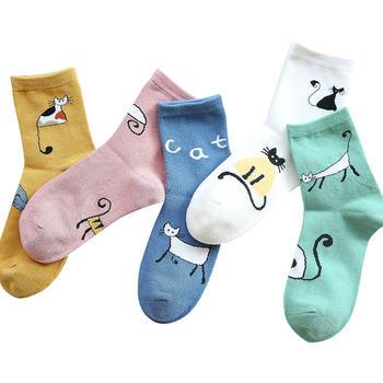 韩尚莯足可爱猫中筒袜女秋冬10双
