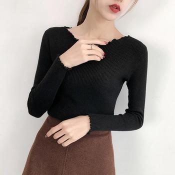 咸素韩版套头修身显瘦长袖针织衫
