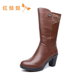 红蜻蜓防水台粗跟女靴C628032H