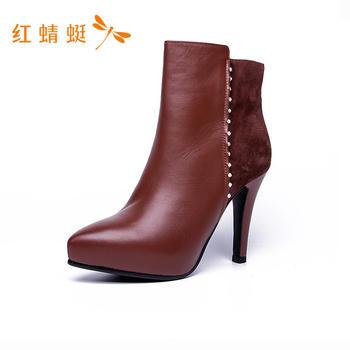 红蜻蜓高跟短靴C774483
