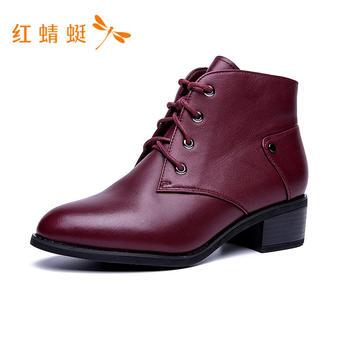 红蜻蜓马丁靴粗跟女鞋C721222