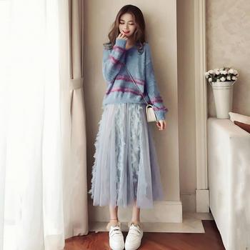 衣岚香网红毛衣加网纱裙两件套